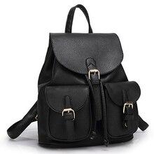 Новый Для женщин кожаный рюкзак черный Bolsas Mochila Feminina большой для девочек Школьный Дорожная сумка одноцветное Карамельный цвет зеленый розовый бежевый