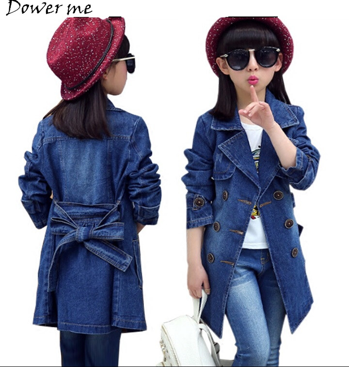 Spring Denim Jacket Girls Fashion Double-Breasted Jeans Outerwear Kids Trench Coat for Baby Girl Coats Jackets Children Clothing 2 14y children clothing spring 2018 big girl denim jackets children jeans coats kids coats for girls outerwear kids clothes tops