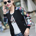 New Flower Print Plus Size Leisure Baseball Jacket Women Round Collar Button Thin Bomber Jacket Long Sleeve Baseball Coat Jacket