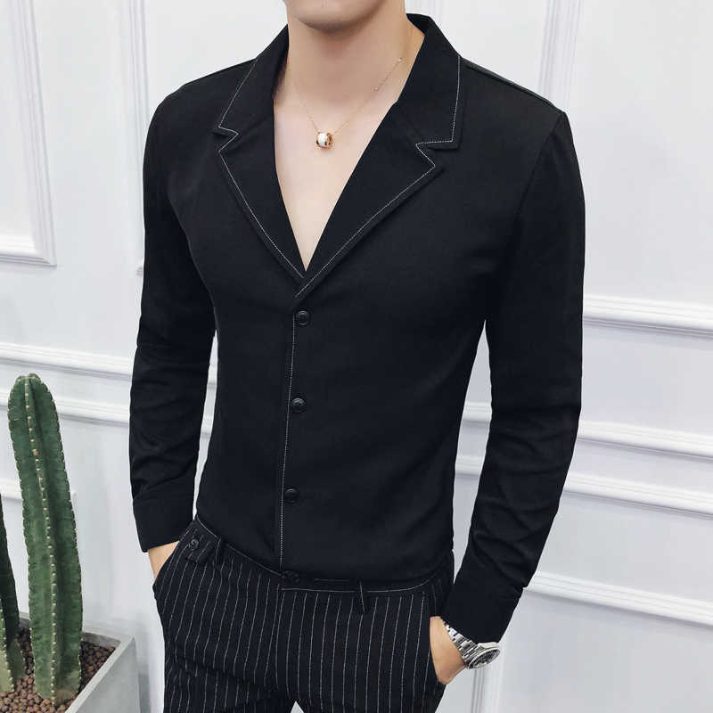 純粋な色メンズ長袖シャツ白黒ビジネスウェディングパーティー新郎ドレスシャツサイズ 3XL 若者の人気トップ