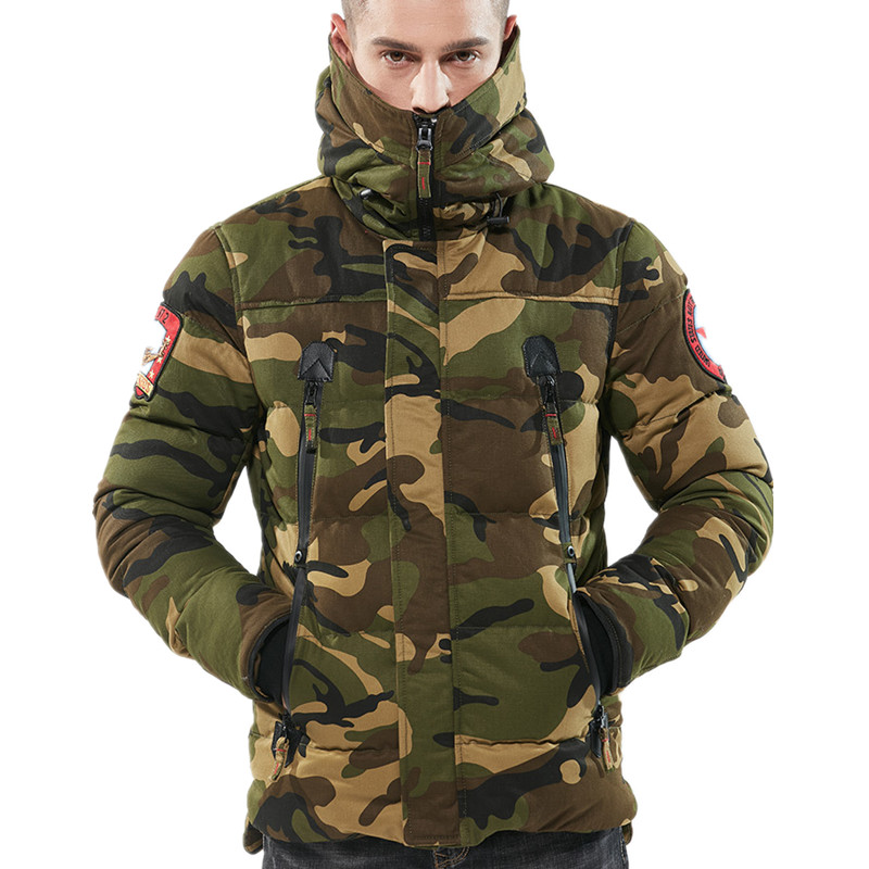 Autumn Winter Warm New Men/'s Fashion Top Coat Camouflage Padded Jacket Outcoat