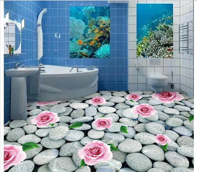 Custom photo wallpaper 3d floor painting Cobble floor tile roses 3 d floor tile mural wallpaper