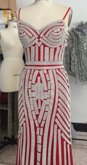Finove/Вечерние платья цвета шампанского, элегантные сексуальные вечерние платья без рукавов с v-образным вырезом, украшенные кристаллами и бисером, длинные платья для выпускного вечера для женщин - Цвет: Red and Silver