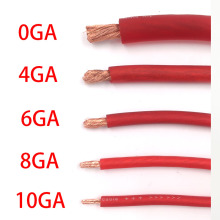 High quality International standards OFC Pure Copper Cable Car Audio Hi-Fi Power Cable 10GA 8GA 6GA 4GA 0GA Red Wire(China)