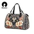 Realer marca mujeres bolso con estampado floral bolso de mano de gran capacidad de la pu bolsas de viaje de cuero de las señoras monedero