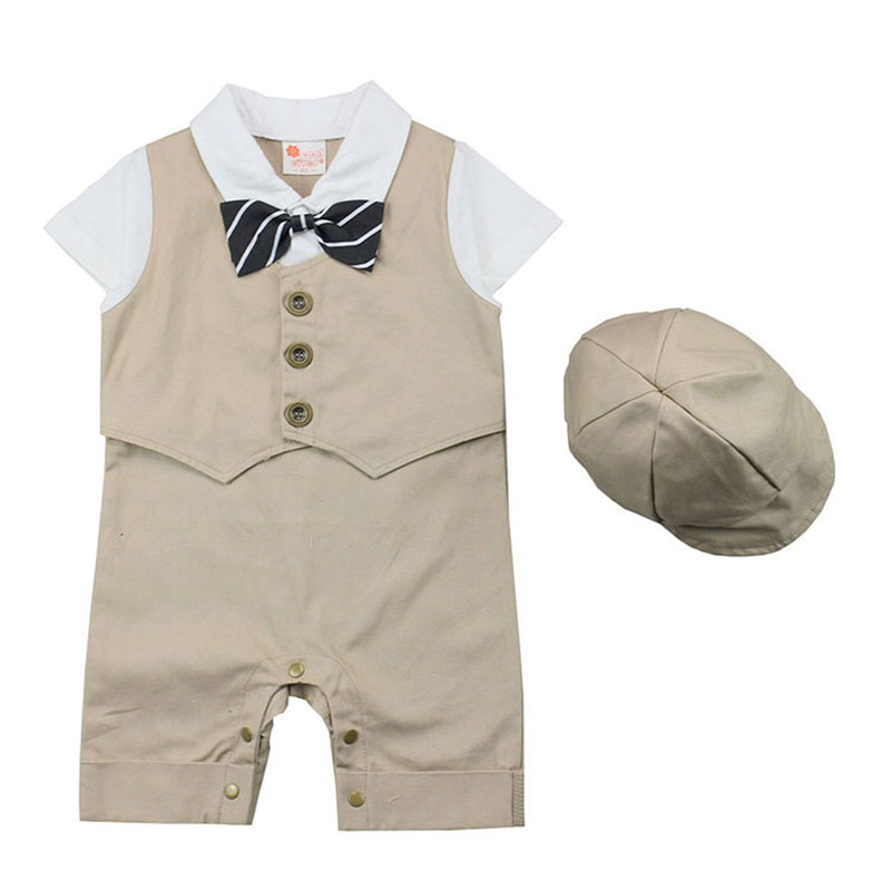 Kits for Newborns Baby Boy Rompers Formal Gentleman Clothing Wedding And Party Clothes Suits Short Sleeve Sets+Hat Boys Jumpsuit nyan cat baby boy clothes short sleeves gentleman bow tie vest romper hat 2pcs set outfit jumpsuit rompers party cotton costume