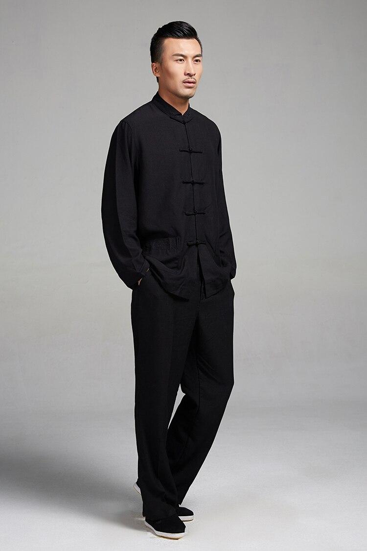 Nero bianco tradizionale cinese uomo kung fu abbigliamento manica lunga  linguetta del vestito vestiti di cotone di tela tai chi marziali uniforme di  arti in ... e10f9a27f43