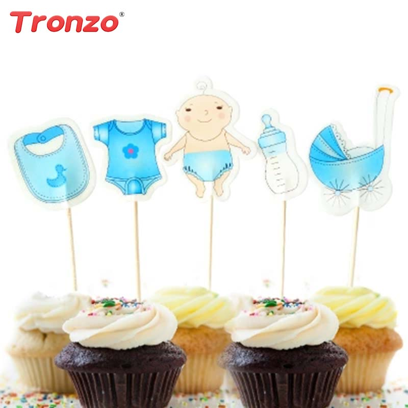 Tronzo 20Pcs/set Baby Shower Cake Topper Pink Blue Cartoon Baby Carriage Feeding Bottle Clothes Babay Shower Party Decoration