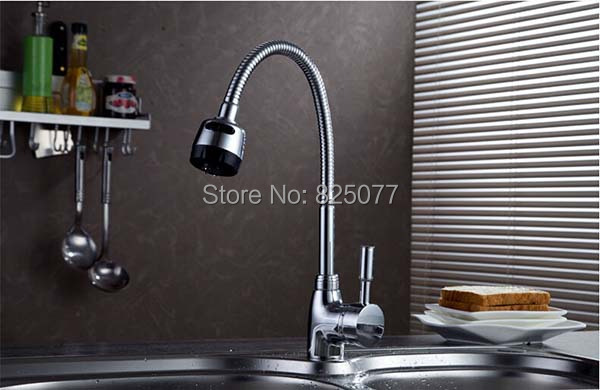 Free shipping Kitchen Faucets With Plumbing Hose All Around Rotate Swivel 2 Function Water Outlet Mixer