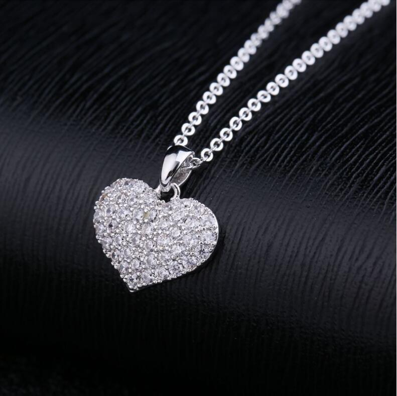 LZX Brand Heart Shape Crystal Choker Necklace White Gold Color Cubic Zirconia Stone Necklaces Pendants For