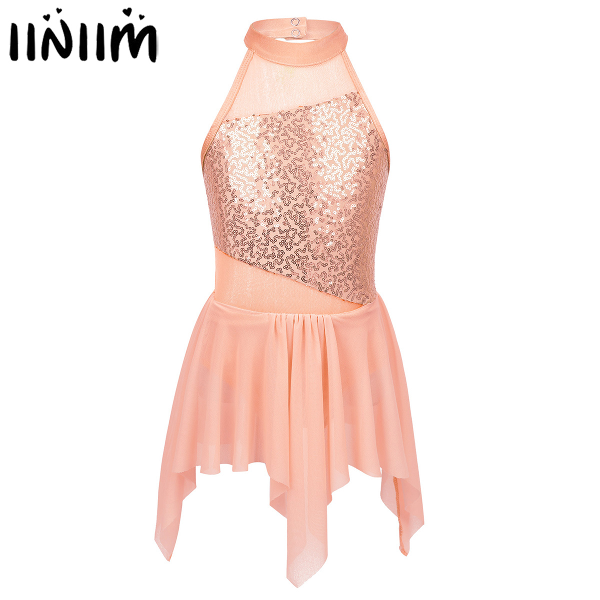 inlzdz Kids Girls Sequined Glitter Fitness Crop Top Dancewear Ballet Dance Gymnastic Costumes Black 2 Years