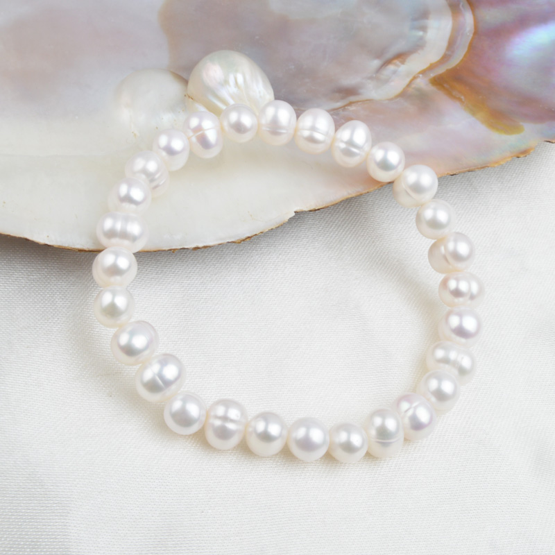 ASHIQI White Natural Freshwater Pearl Bracelet Bangle For Women Jewelry Gift
