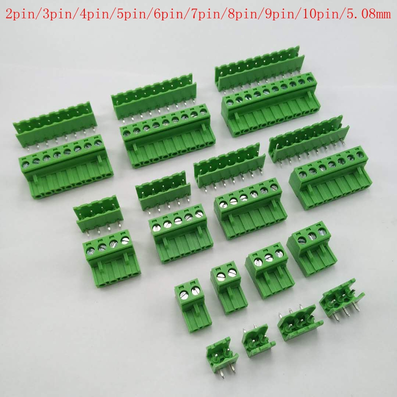 5.08 2pin-10pin Curved needle Terminal plug type 300V 10A 5.08mm pitch connector pcb screw terminal block 10 sets 5 08 2pin right angle terminal plug type 300v 10a 5 08mm pitch connector pcb screw terminal block free shipping