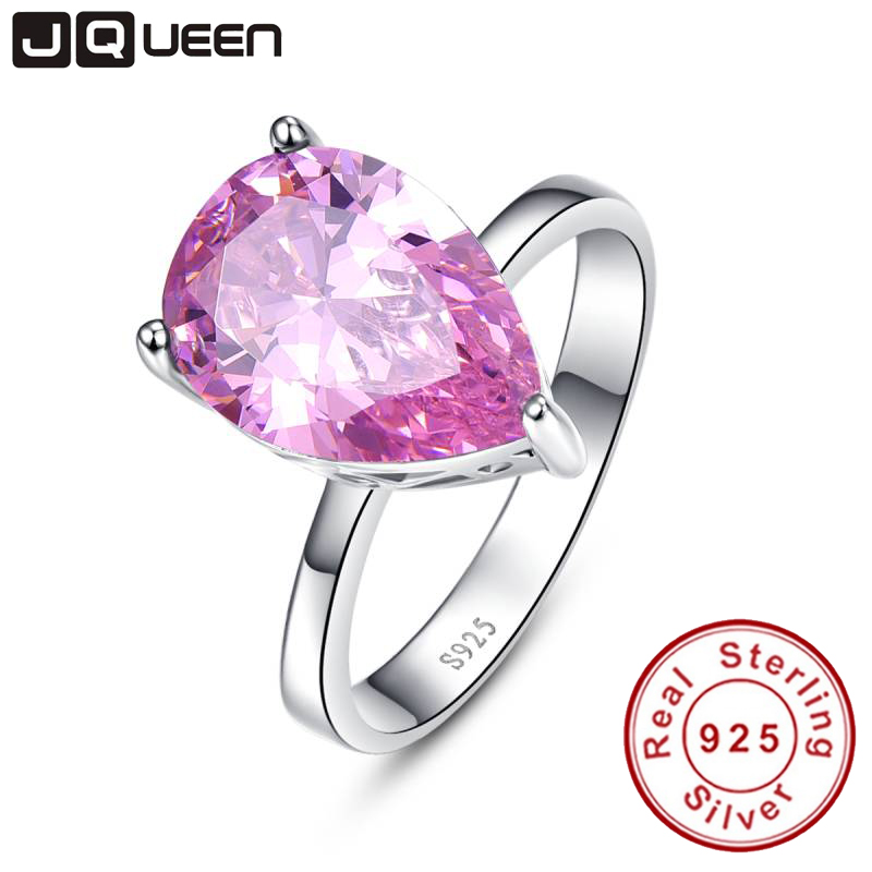 Modische echte Sterling Silber 925 Ring Mystic Pink Topaz 8.55 Karat cz Versprechen Eheringe für Frauen