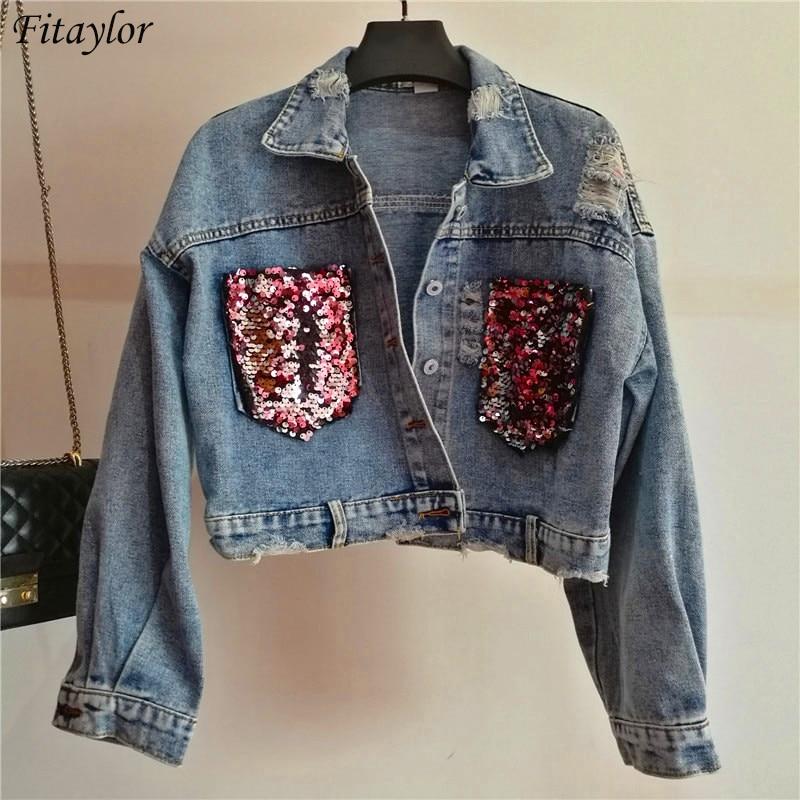 Fitaylor Women Denim Coats European Runway Style Sequins Double Pocket Vintage   Basic   Jean Coat Short Tops Female Girl Streetwear