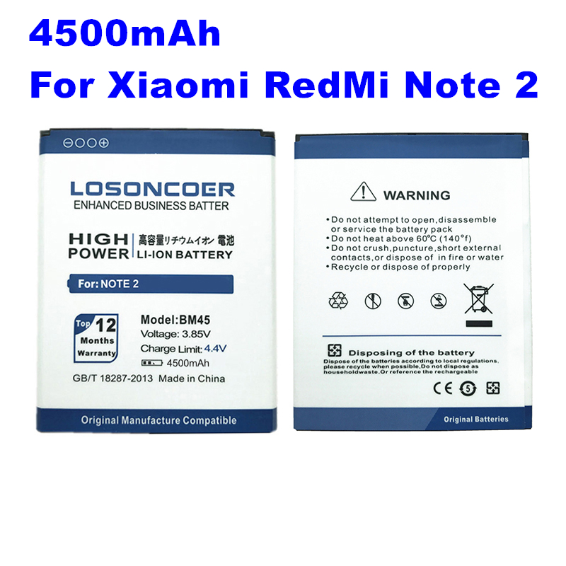 Mobile Phone Batteries Loyal Losoncoer 4500mah Bm45 Battery Li-ion For Xiaomi Redmi Note 2 Battery Note 2 Cell Phone Batteries Durable Modeling