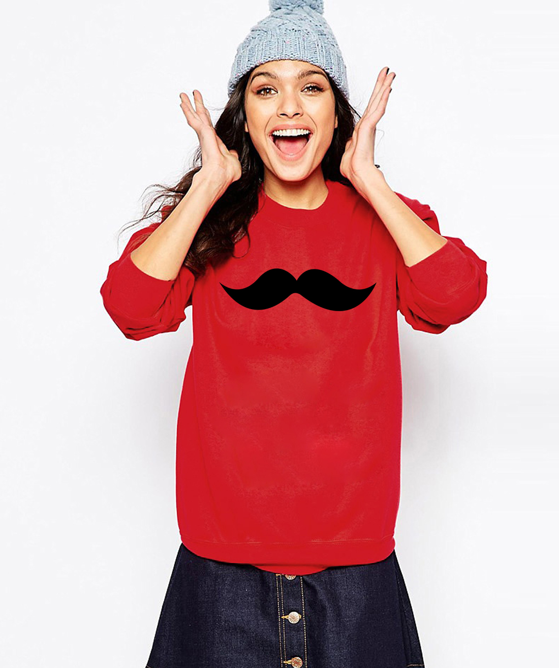 Moustache Print Sweatshirts  3