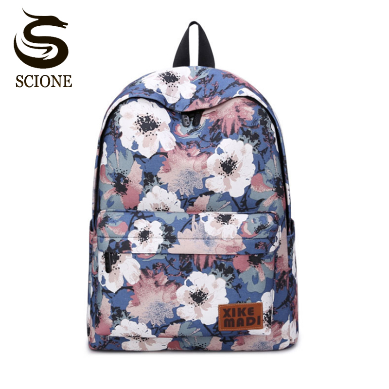 6a4d75a6baa Fashion Fresh Style Women Backpacks Floral Print Bookbags Canvas Backpack  School Bag For Girls Rucksack Female Travel Backpack