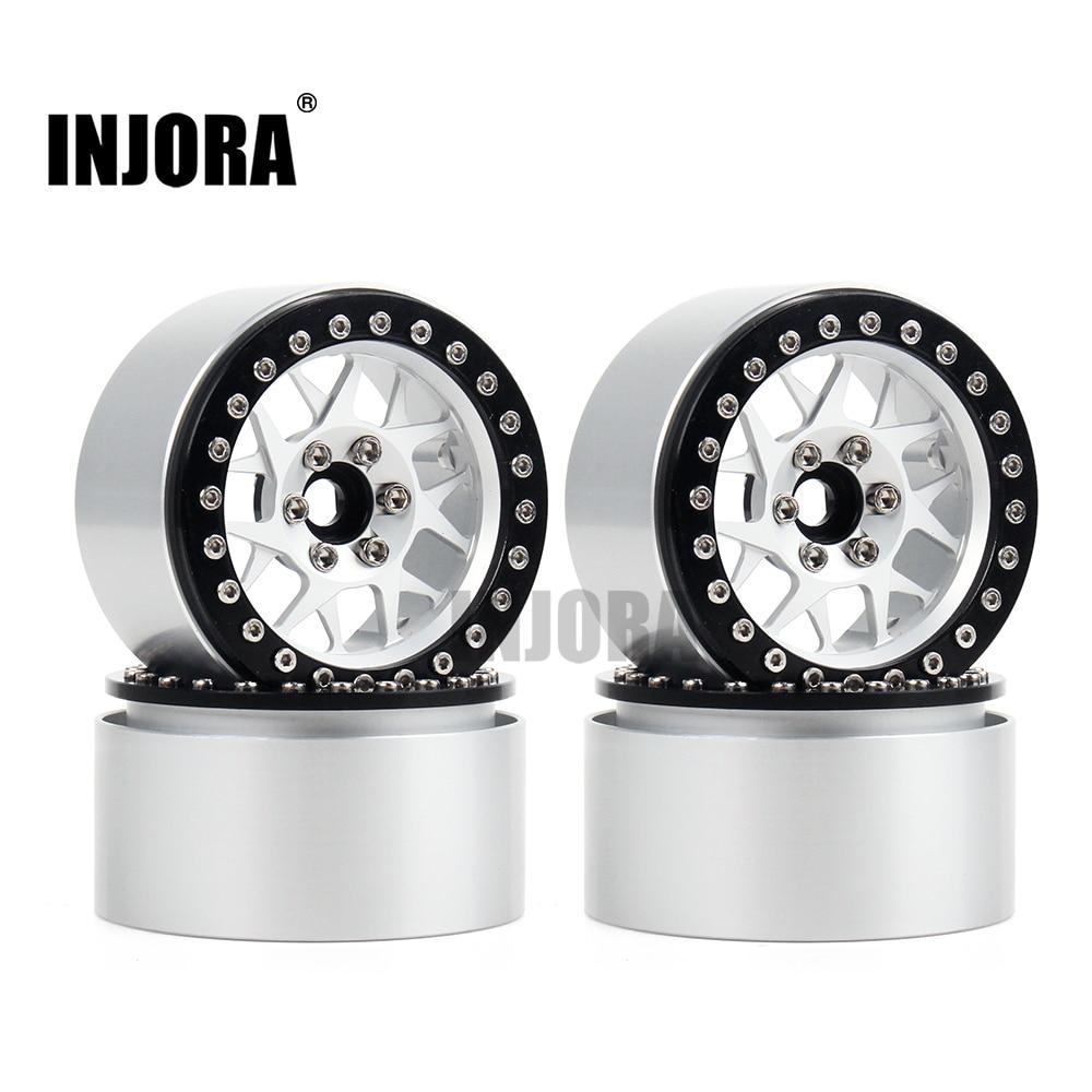 INJORA 4PCS Aluminum Alloy 2.2 Beadlock Wheel Rims For 1/10 RC Rock Crawler Axial SCX10 RR10 Wraith 90056 Traxxas TRX4 TRX-6