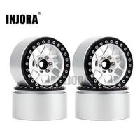 INJORA 4PCS Aluminum Alloy 2.2 Inch Beadlock Wheel Rims for 1/10 RC Rock Crawler Axial SCX10 RR10 Wraith 90056 Traxxas TRX4