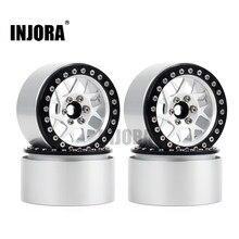 Injora 4 pçs cnc alumínio 2.2 beadlock aro da roda para 1/10 rc rastreador carro axial scx10 rr10 wraith traxxas trx4 TRX-6