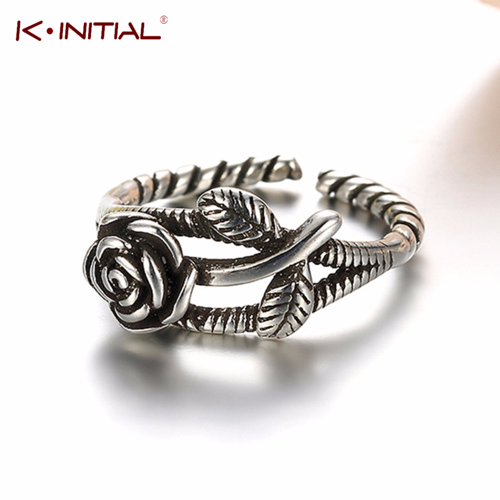 Kinitial Cute Twristed Finger Silver Plated Rings 3D Rose Flower Leaf Open Ring Free Shipping 925 Jewelry Valentine's Day Gift