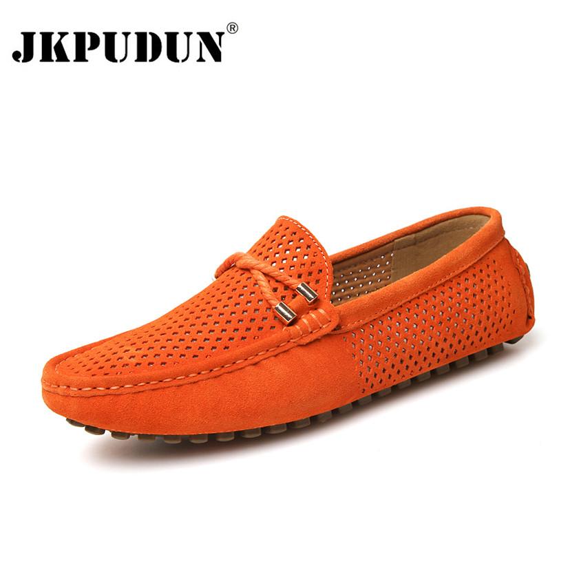 JKPUDUN Summer Italian Men Shoes Casual Luxury Brand Breathable Mens Penny Loafers 2018 Suede Leather Slip On Boat Shoes Men