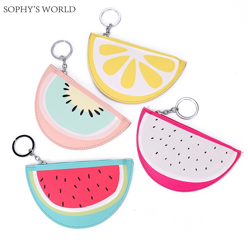 цена на 2pc/Lot Sophy's world Cartoon Mini Wallet For Girls Watermelon Bag Fruit Pattern Kid Purse Keyring Coin Purse Bank Card Holder