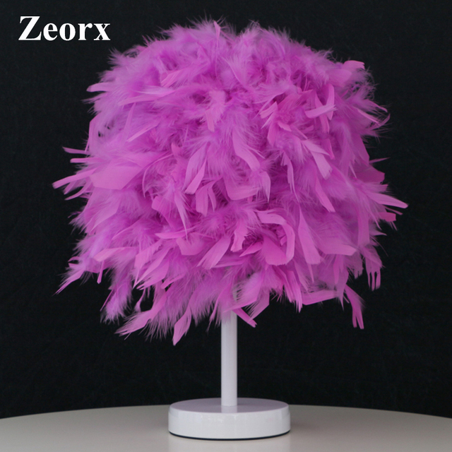 ZEORX Bedside Sitting Room Heart Shape Feather Crystal Table Lamp ...