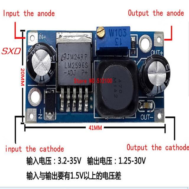 100PCS/LOT LM2596S LM2596 LM2596S ADJ Power supply module DC DC Step down module 5V/12V/24V adjustable Voltage regulator 3A