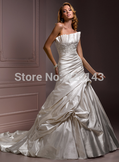 Free Shippingalabaster Satin Pleated Crumb Catcher Crystal Strapless Jaslene Marie Wedding Dress 2017 New