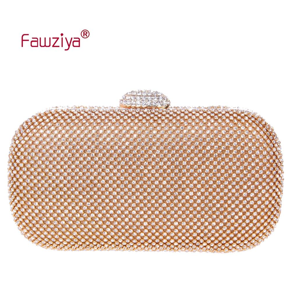 Fawziya Small Bag Baguette Purse Bling Hard Case Rhinestone Crystal Clutch Bag