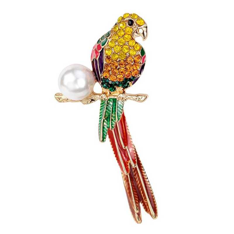 Brooch Relaxting Parrot Shape to Decorate Suit and Shirt, hat, Alloy and Rhinestone Bead Material, Sensitive Brooch Brooch - S