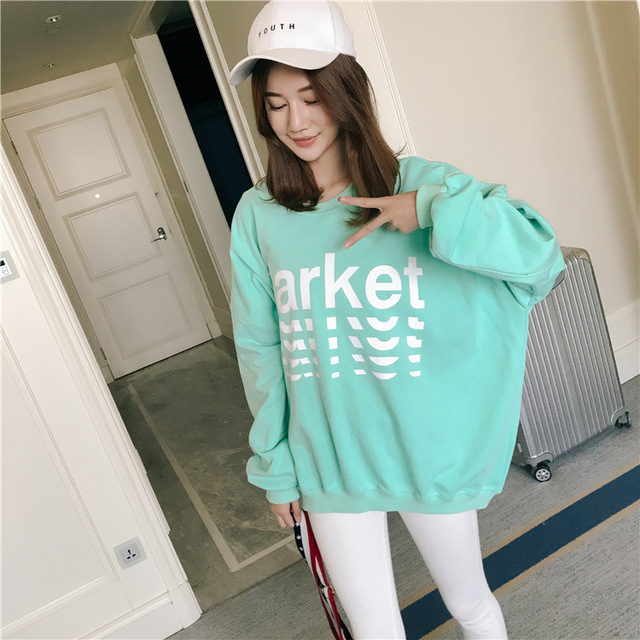 02c4bf07a79 Spring Fashion Loose Letter Print Oversize Women Long Sleeve Pink T Shirts  2018 Korean Casual Cotton