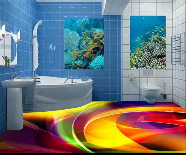 3D Floor Curve Custom 3d Photo Wallpaper Pvc Vinyl Flooring Self Adhesive