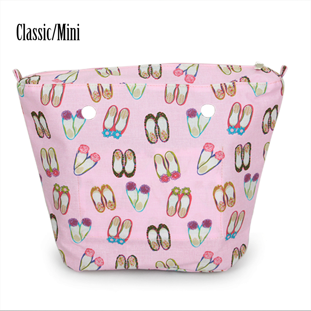 New pink blue Embroidered Shoepattern canvas Insert Lining Inner Pocket for Classic Mini Obag O Bag Women's Should Bags new flower printed insert inner zip pocket canvas plus handles companition for classic obag o bag women s handbags