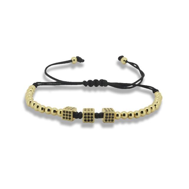 1PC 2016 New Fashion Customized Men Anil Arjandas Macrame Bracelet 3Pcs Pave Black CZ Square Cube Gold Beads Braiding Bracelet