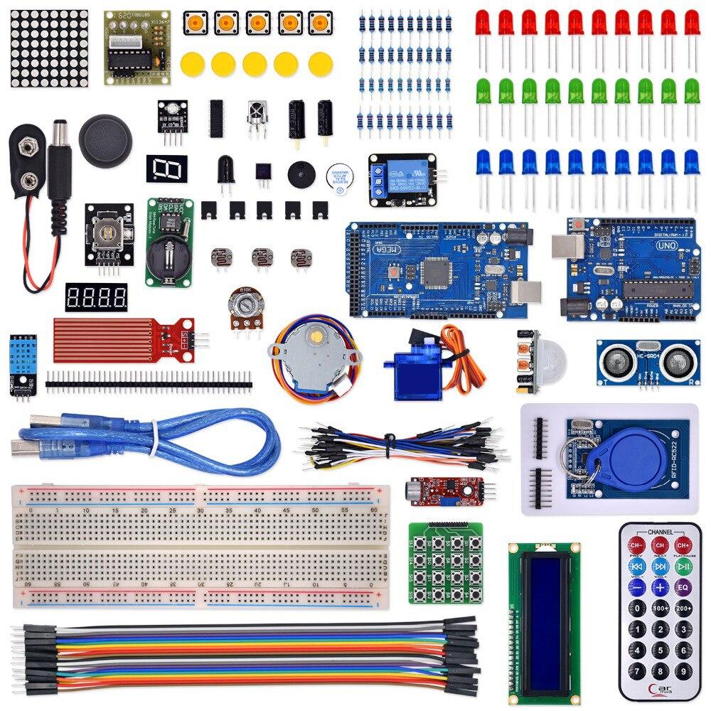 Kit pour arduino uno avec mega 2560/lcd1602/hc-sr04/dupont ligne dans une boîte en plastique