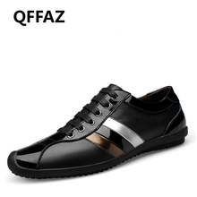 QFFAZ New Casual Shoes Mens Genuine Leather Flats Lace-Up Shoes Fashion Male Shoes Large Sizes 38-46 Oxford Shoes For Men