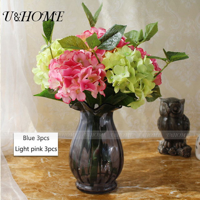 artificial hydrangea fake silk flowers real touch for wedding