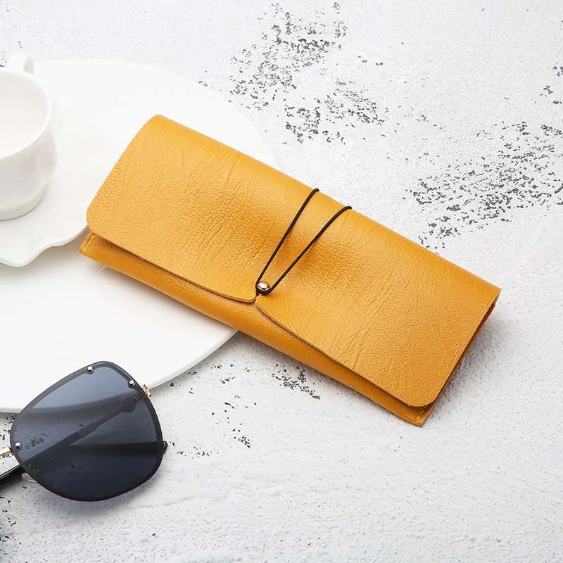 Multi color PVC Leather Glasses Case Stylish Personality Suede Fold able Buckle Sunglasses Storage Bag Eyeglass Sunglasses Box in Eyewear Accessories from Apparel Accessories