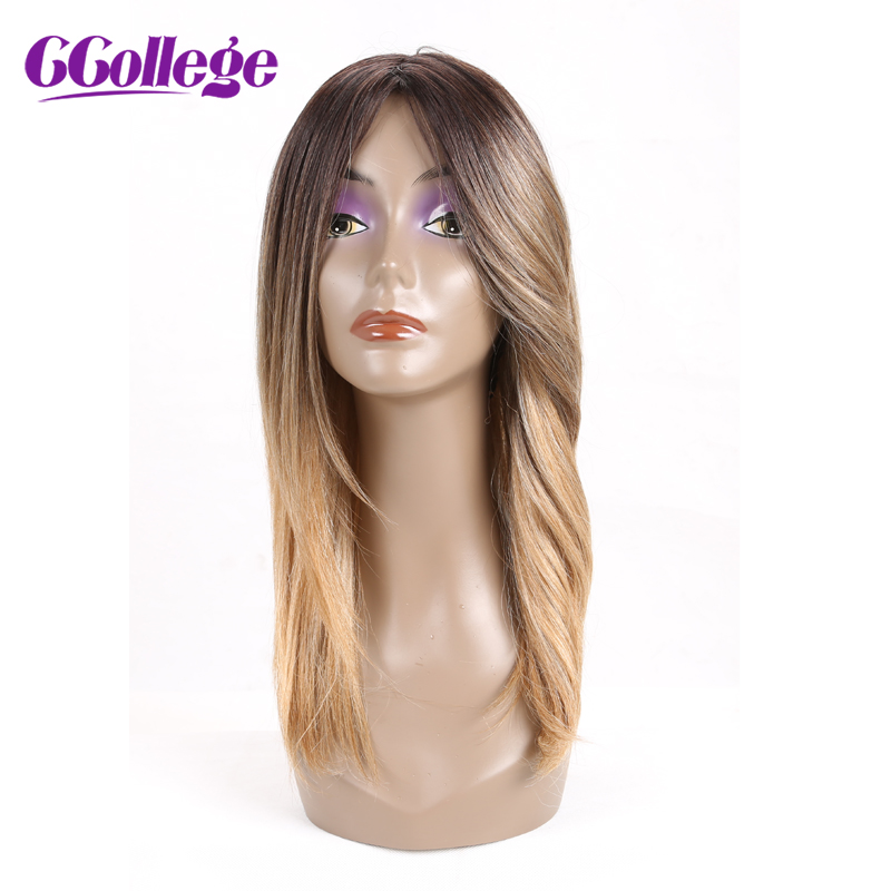 CCollege Ombre Hair Parykar Straight Mänskligt Hår För Svarta - Mänskligt hår (svart)