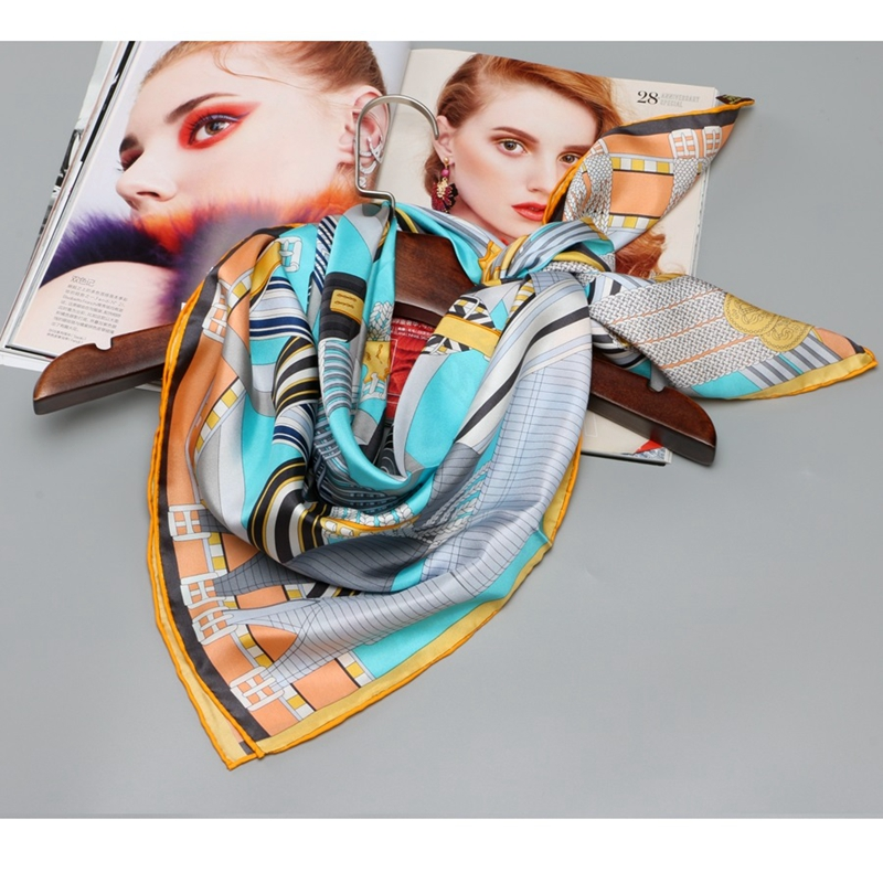 Belts Print 100% Silk Twill Scarfs Wraps Women Large Square Silk Scarf Shawl Silk Head Scarves for Hair Wrapping 88x88cm