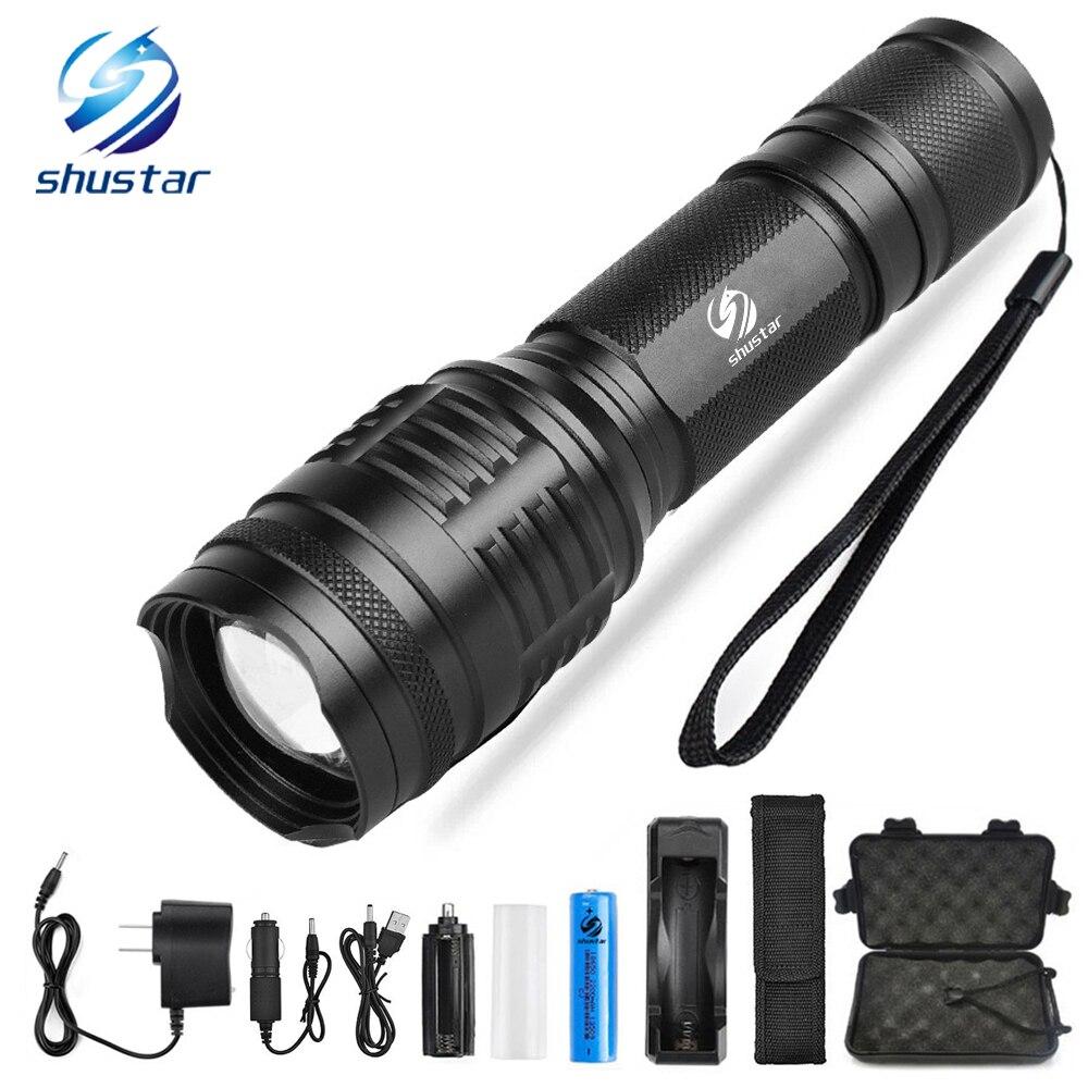 Puissant LED lampe de poche CREE XML-T6/L2 8000 Lumens torche 5 modes d'éclairage zoom lampe de poche Camping lumière avec 18650 batterie