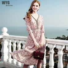 Wordeyige Real Silk Beach Dress Summer 2018 Elegant Woman. US ... 5c210bad0df5