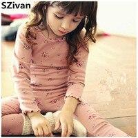 Odzież dziecięca Dla Dzieci bielizna ustawić Bawełna flower girl macierzystej piżamy Jesień odzież Dla Dzieci i kalesony