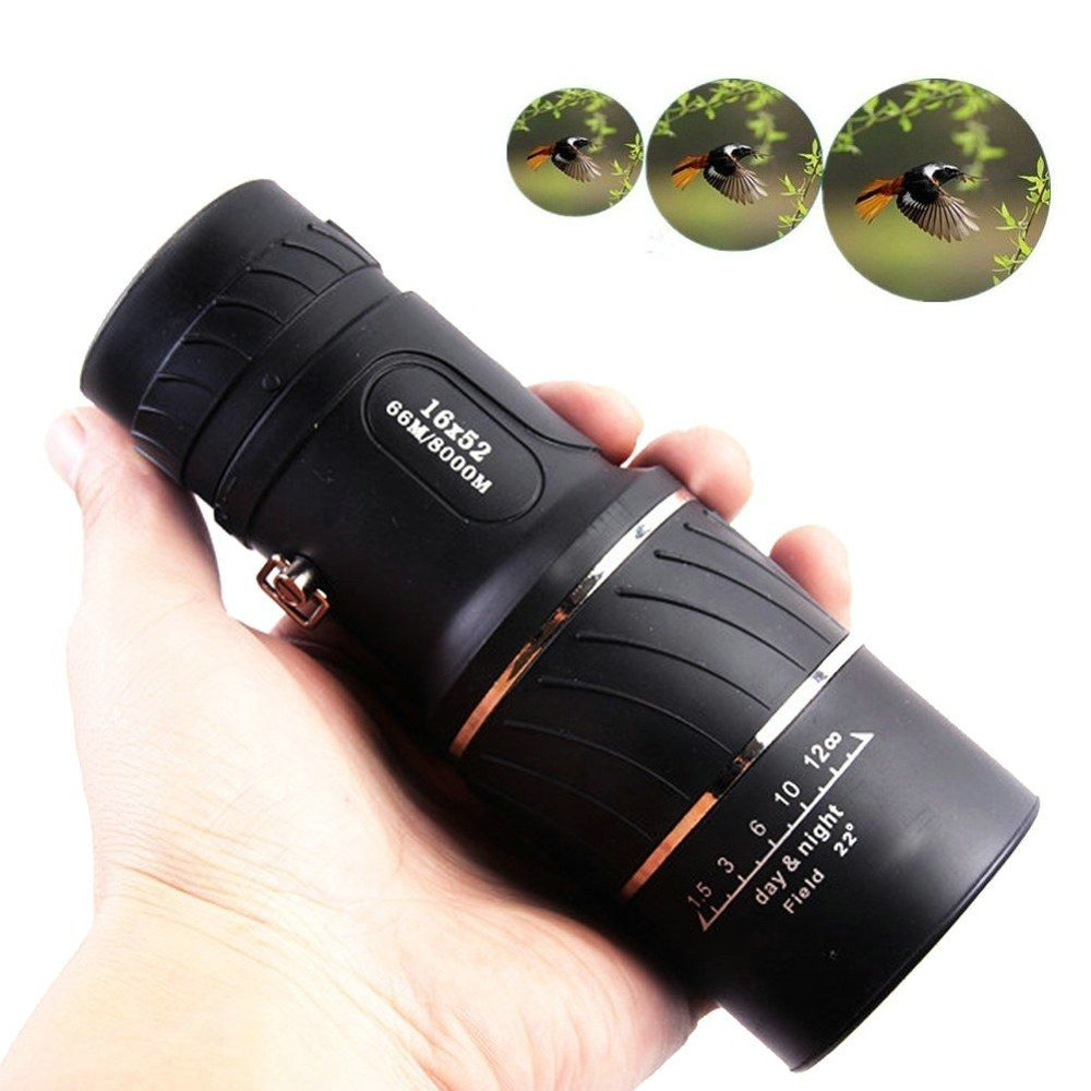 Image 4 - HD 16x52 Dual Focus Zoom Optical Night and Day Vision Monocular single Telescope Mini Portable Military Zoom Travel Hunting 5.29-in Monocular/Binoculars from Sports & Entertainment