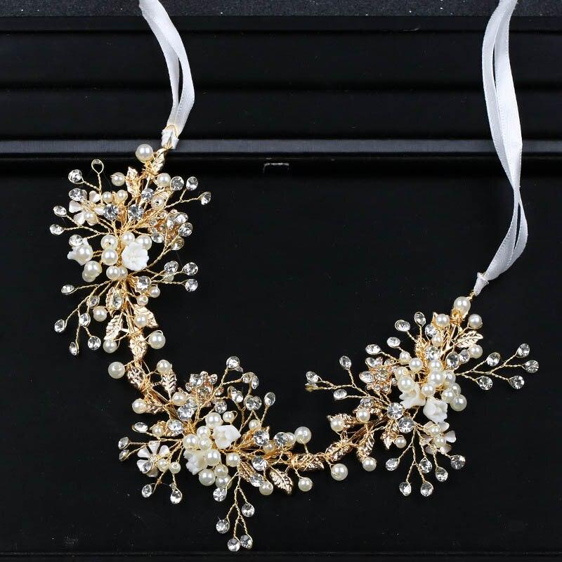 Crystal Beads Flower Tiara Headband Pearl Hairband with Ribbon Head Chain Wedding Hair Accessories Hair Jewelry LB