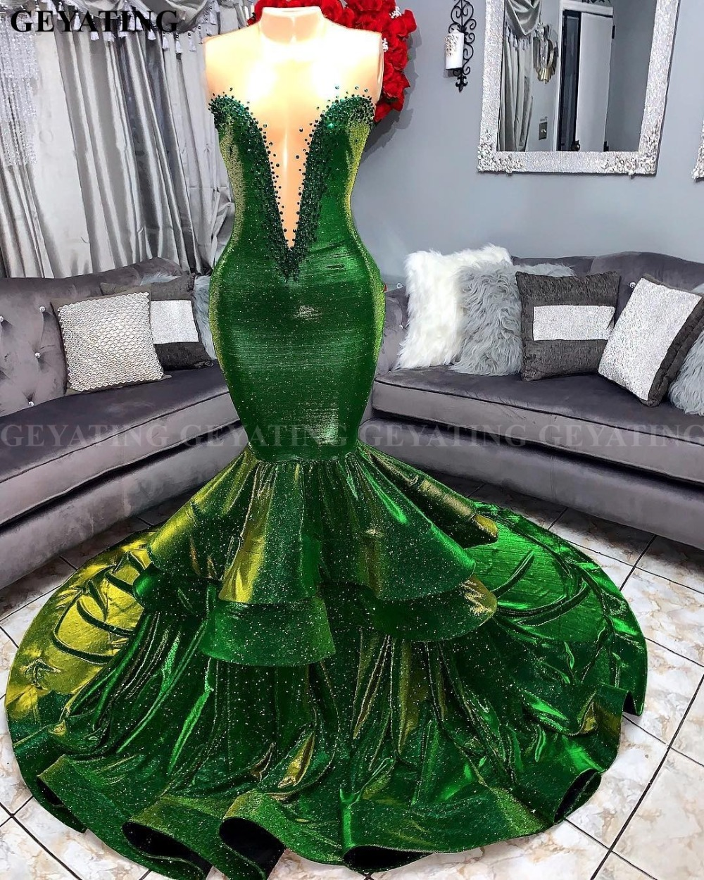 Sparkly Sequins Green Mermaid African Prom Dresses 2019 Elegant Illusion V-Neck Ruffled Train Plus Size Graduation Party Dress