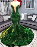 Sparkly Sequins Green Mermaid African Prom Dresses 2020 Elegant Illusion V Neck Ruffled Train Plus Size Graduation Party Dress